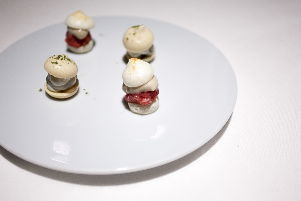 Macaroons of anchovies & raw beef and one of oysters