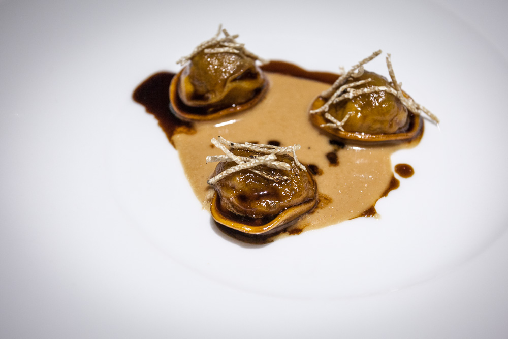 Ravioli with Leeks, foie gras, and truffles