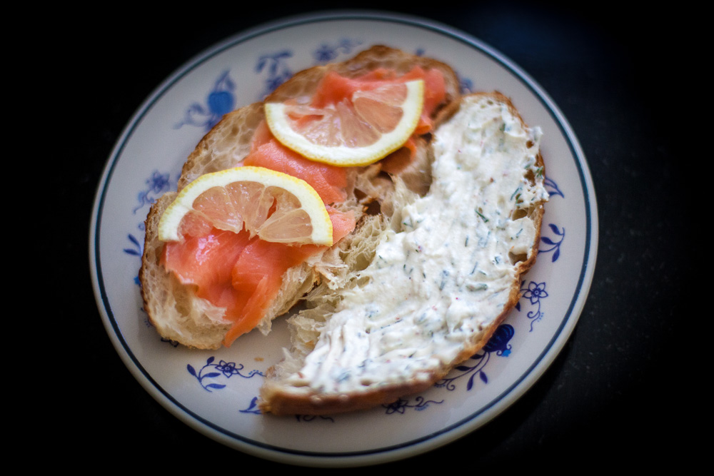 Summer Ricotta Spread with smoked salmon