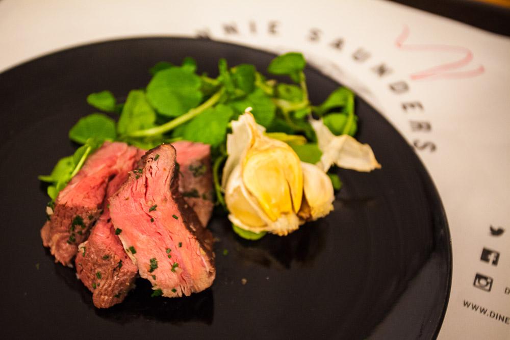 Flank of beef, tarragon, marrow and watercress