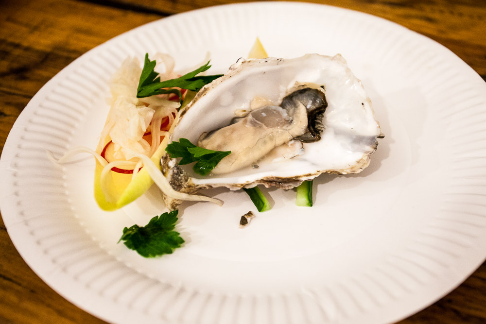Pickled oyster and parsley salad
