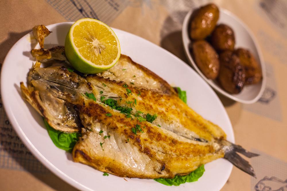 Grilled sea bass, Shtsupak, Tel Aviv, Israel