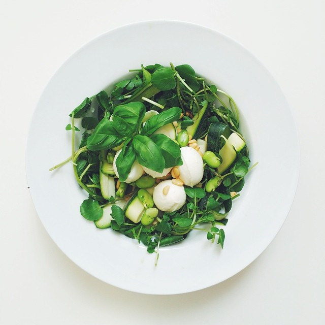 Broad beans week, vegetarian salad. Broad beans, mozzarella, courgette:zucchini, watercress, basil, pine nuts, Extra virgin olive oil and balsamic vinegar