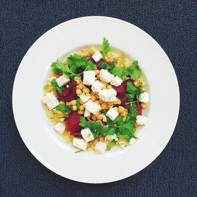 Sprouts week, vegetarian salad. Sprouted Chickpeas, beetroot, avocado, feta cheese, coriander, couscous, cider vinegar, extra virgin olive oil
