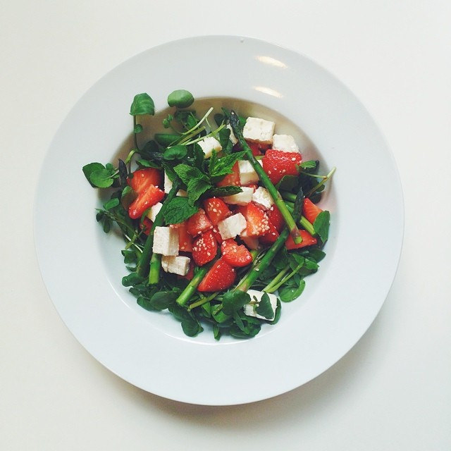 Strawberries, asparagus, goat cheese, mint, watercress, sesame seeds, extra virgin olive oil, balsamic vinegar