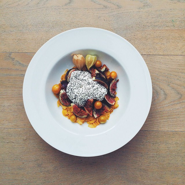 figs, cape gooseberries, yogurt, corn flakes, poppy seeds