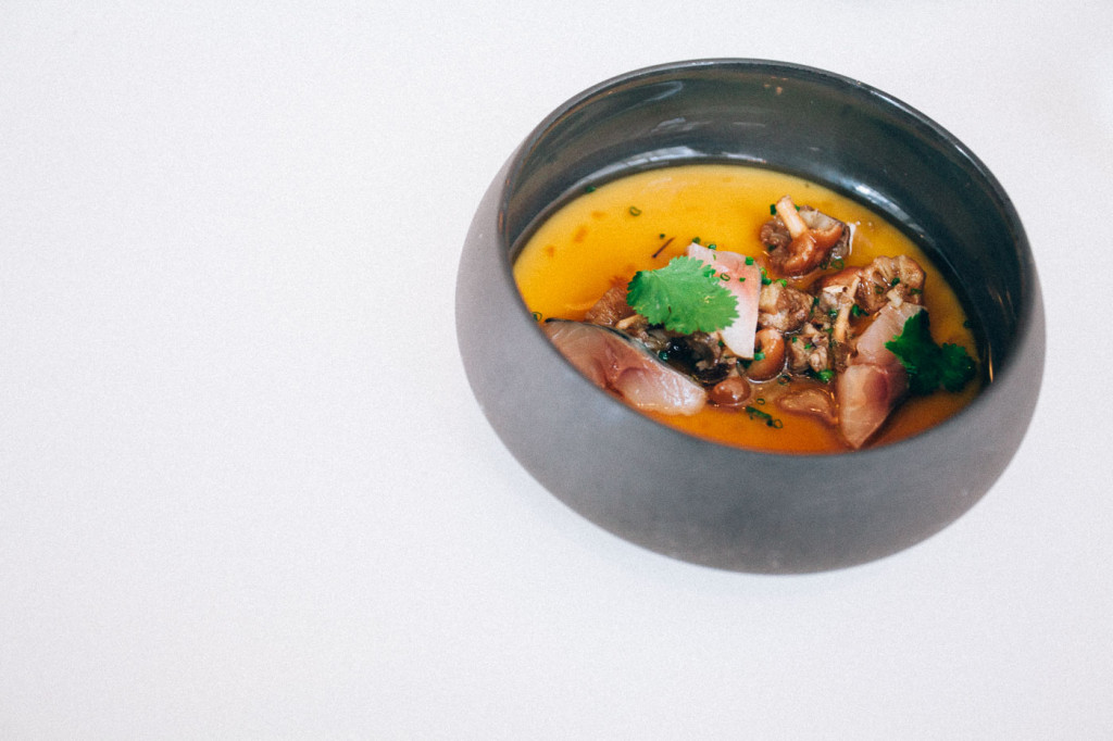 Chawanmushi with mushrooms and mackerel